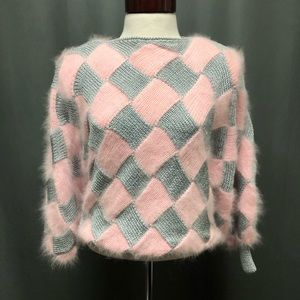 Vintage mohair argyle printed 80s style sweater